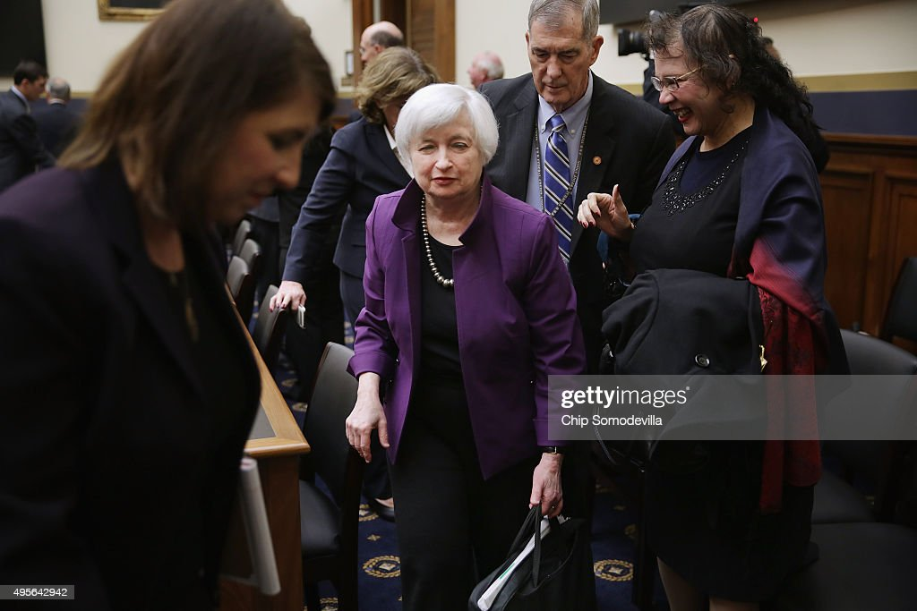 Federal Reserve Chair Janet Yellen (C) leaves after testifying before the House Financial Services Committee in the Rayburn House Office Building November 4, 2015 in Washington, DC. Because the Obama administration has yet to appoint a vice chairman for supervision at the Federal Reserve -- as madated by the Dodd-Frank Law -- Yellen is assuming the semi-annual duty for reporting to the committee on the Fed's 'supervision and regulation of the financial system.'