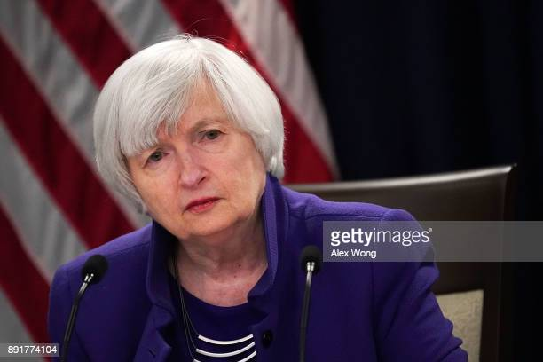 Federal Reserve Chair Janet Yellen listens during her last news conference in office December 13 2017 in Washington DC Yellen announced that the...