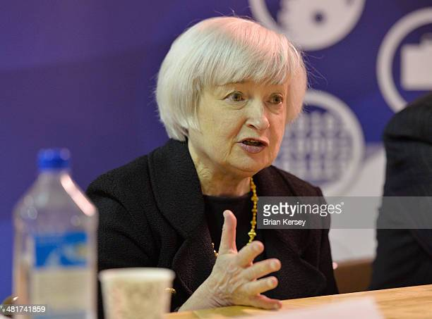 Federal Reserve Chair Janet Yellen participates in a roundtable discussion with students and faculty after touring the College to Careers Program in...