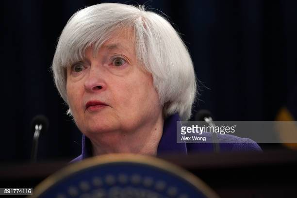 Federal Reserve Chair Janet Yellen pauses during her last news conference in office December 13 2017 in Washington DC Yellen announced that the...