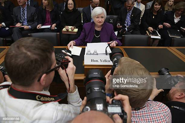 Federal Reserve Chair Janet Yellen prepares to testify before the House Finance Committee in the Rayburn House Office Building November 4, 2015 in...