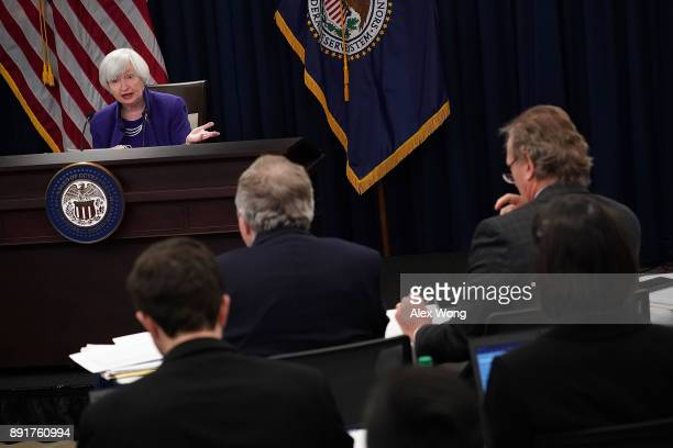 Federal Reserve Chair Janet Yellen speaks during a news conference December 13 2017 in Washington DC Yellen announced that the Federal Reserve is...