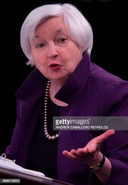Federal Reserve Chair Janet Yellen speaks during a press conference after the Federal Open Market Committee meeting in Washington, DC on June 14,...