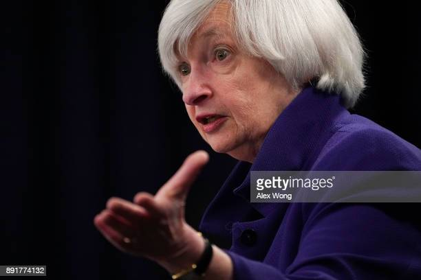 Federal Reserve Chair Janet Yellen speaks during her last news conference in office December 13 2017 in Washington DC Yellen announced that the...