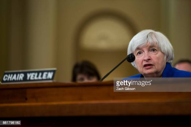 Federal Reserve Chair Janet Yellen testifies during a Joint Economic Committee on Economy Hearing on Capitol Hill November 29, 2017 in Washington,...