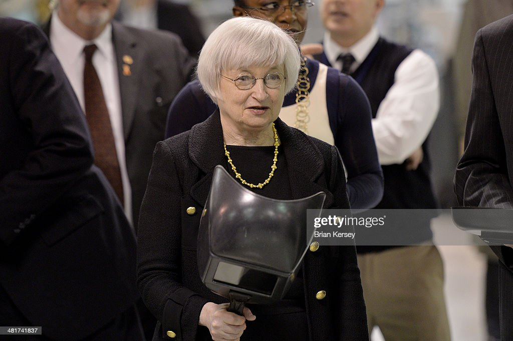 Federal Reserve Chair Janet Yellen tours the College to Careers Program in Advanced Manufacturing at the City Colleges of Chicago's Daley College on March 31, 2014 in Chicago, Illinois. In earlier remarks Yellen indicated that the economy was far from healthy and that the Fed would continue its policy of maintaining low interest rates.