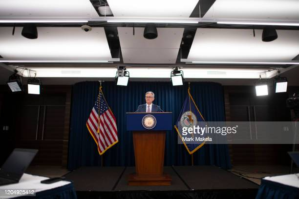 Federal Reserve Chair Jerome H. Powell announces a half percentage point interest rate cut during a speech on March 3, 2020 in Washington, DC.