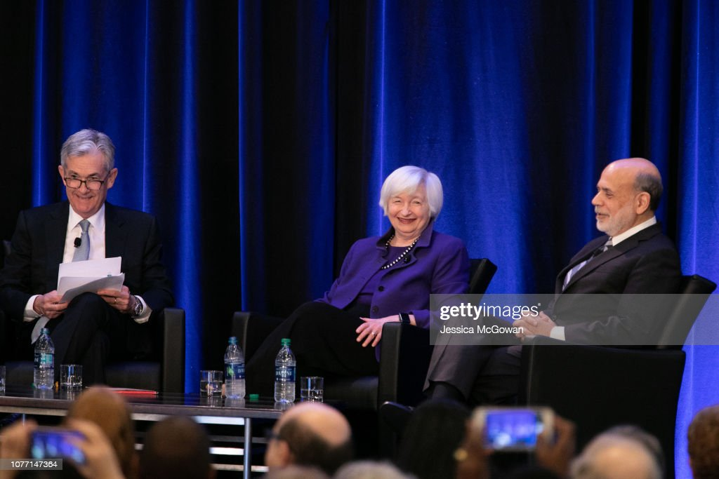Federal Reserve Chair Jerome Powell, And Former Fed Chairs Bernanke And Yellen Speak At Economic Conference In Atlanta : News Photo