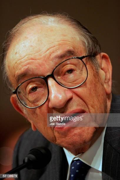 Federal Reserve Chairman Alan Greenspan testifies before the Senate Finance Committee on USChina Economic Relations June 23 2005 in Washington DC The...