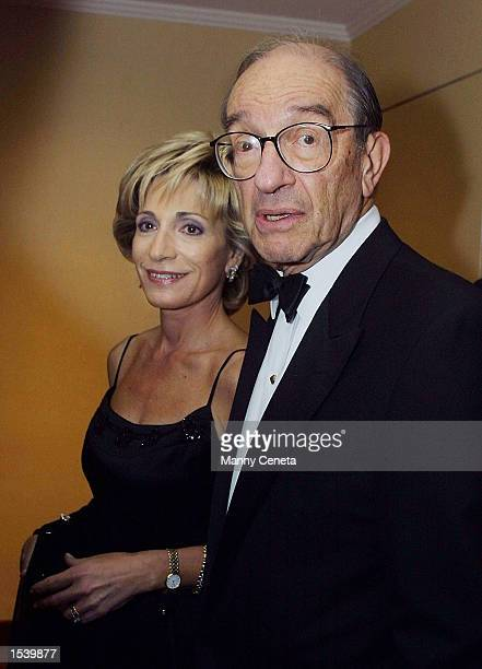 Federal Reserve Chairman Alan Greenspan with his wife NBC correspondent Andrea Mitchell arrive at the annual White House Correspondents'' dinner May...