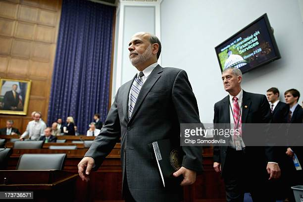 Federal Reserve Chairman Ben Bernanke arrives before testifying to the House Financial Services Committee on Capitol Hill July 17 2013 in Washington...
