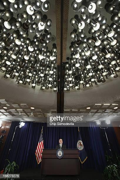 Federal Reserve Chairman Ben Bernanke holds a press conference following a Federal Open Market Committee meeting at the Federal Reserve Bank...