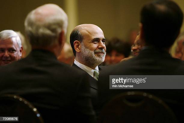 Federal Reserve Chairman Ben Bernanke lunches with the Economic Club of Washington October 4 2006 in Washington DC During his remarks Bernanke said...
