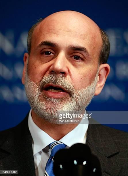 "Federal Reserve Chairman Ben Bernanke speaks at the National Press Club on February 18, 2009 in Washington, DC. Bernanke discussed ""The Federal..."