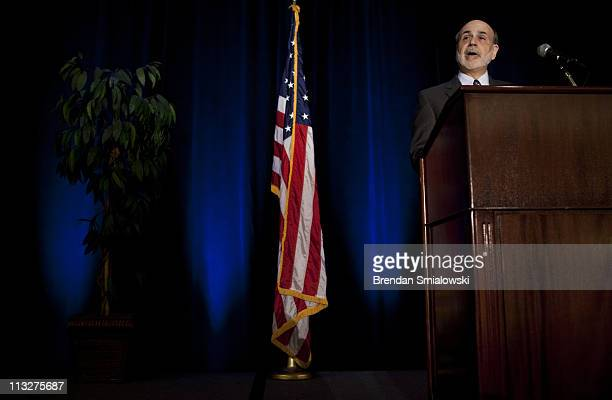 Federal Reserve Chairman Ben Bernanke speaks during a luncheon at the 7th Federal Reserve Community Affairs Research Conference April 29 2011 in...