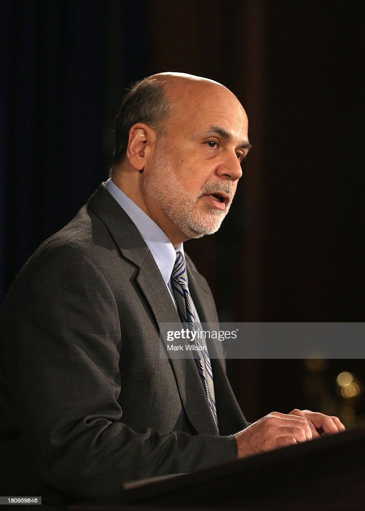 Federal Reserve Chairman Ben Bernanke speaks during a news conference at the Federal Reserve, September 18, 2013 in Washington, DC. Chairman Bernanke spoke after a closed door meeting of the Federal Open Market Committee. The Federal Reserve announced today that it will not scale back the bond-buying program and continue buying bonds at $85 billion a month.