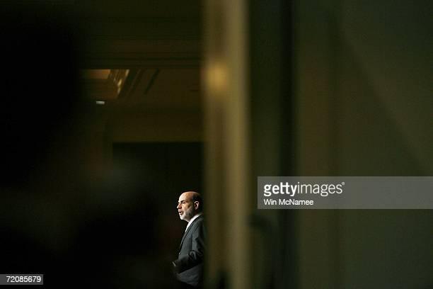Federal Reserve Chairman Ben Bernanke speaks to the Economic Club of Washington October 4 2006 in Washington DC During his remarks Bernanke said that...