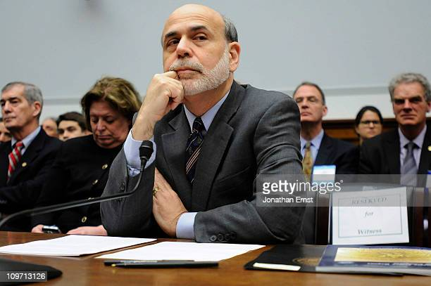 S Federal Reserve Chairman Ben Bernanke testifies during a hearing at the House Financial Services Committee in the Rayburn House Office Building on...