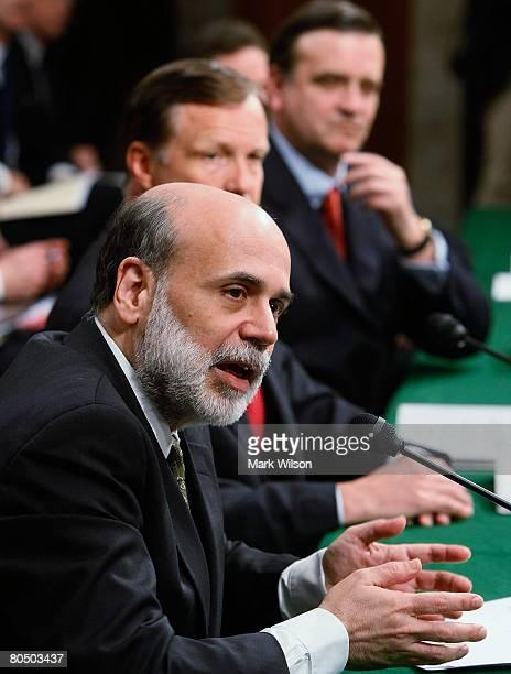 Federal Reserve Chairman Ben Bernanke testifies while SEC Chairman Christopher Cox Under Secretary of Treasury for Finance Robert Steele and...