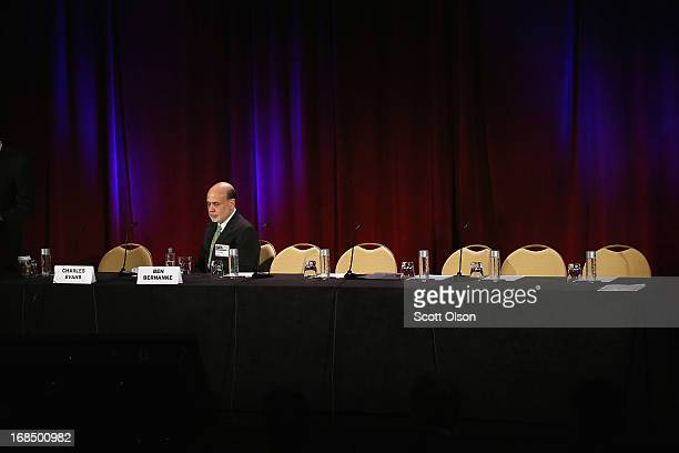 Federal Reserve Chairman Ben Bernanke waits to be introduced at a banking conference hosted by the Federal Reserve Bank of Chicago on May 10 2013 in...
