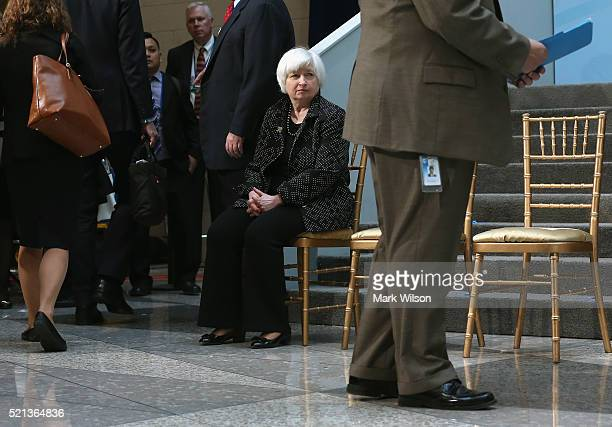 S Federal Reserve Chairman Janet Yellen waits to participate in a family photo with G20 Finance ministers and central bank governors during the 2016...