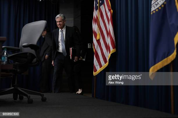 S Federal Reserve Chairman Jerome Powell arrives for a news conference March 21 2018 in Washington DC The Fed today as expected announced a...