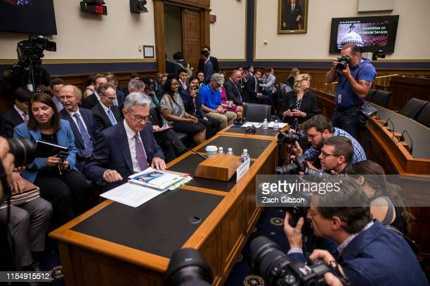 Federal Reserve Chairman Jerome Powell arrives to testify during a House Financial Services Committee hearing on Capitol Hill on July 10 2019 in...
