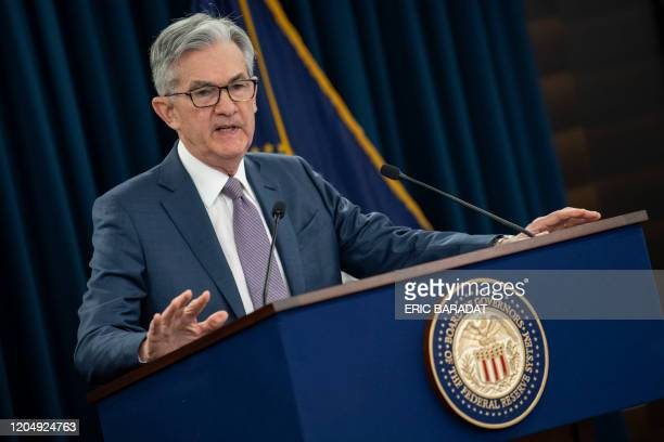 US Federal Reserve Chairman Jerome Powell gives a press briefing after the surprise announcement the FED will cut interest rates on March 3 2020 in...