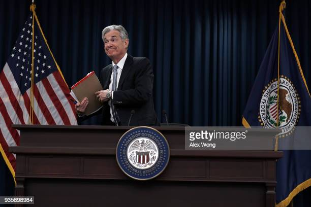 S Federal Reserve Chairman Jerome Powell leaves after a news conference March 21 2018 in Washington DC The Fed announced today as expected a...