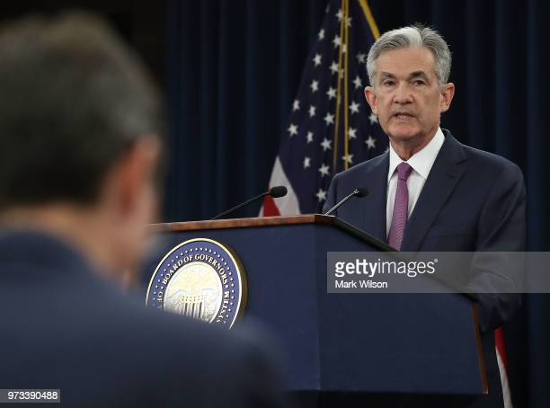 S Federal Reserve Chairman Jerome Powell speaks during a news conference June 13 2018 in Washington DC After a twoday meeting the Chairman Powell...