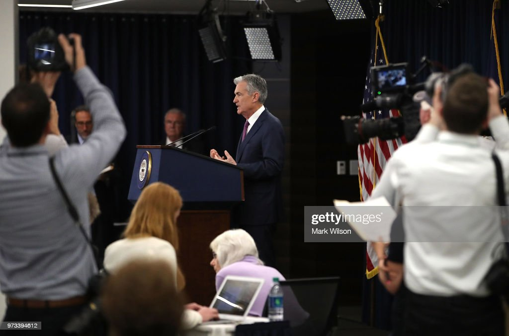 U.S. Federal Reserve Chairman Jerome Powell speaks during a news conference June 13, 2018 in Washington, DC. After a two-day meeting the Chairman Powell announced that the Fed will increase interest rates by quarter of a percentage point.