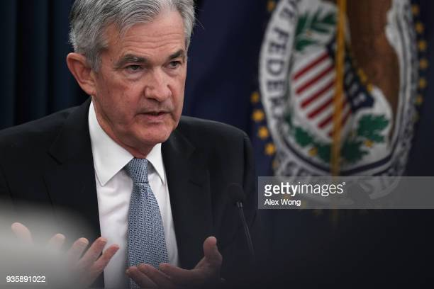 S Federal Reserve Chairman Jerome Powell speaks during a news conference March 21 2018 in Washington DC The Fed today as expected announced a...