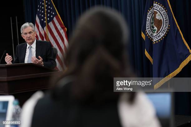 S Federal Reserve Chairman Jerome Powell speaks during a news conference March 21 2018 in Washington DC The Fed announced today as expected a...
