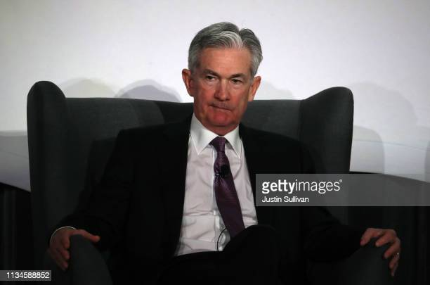 Federal Reserve Chairman Jerome Powell speaks during the 2019 Stanford Institute for Economic Policy Research Economic Summit at Stanford University...