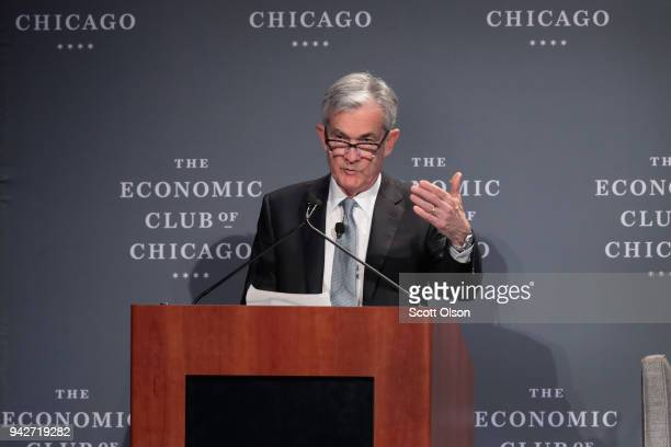 Federal Reserve Chairman Jerome Powell speaks to guests at a luncheon hosted by the Economic Club of Chicago on April 6 2018 in Chicago Illinois It...