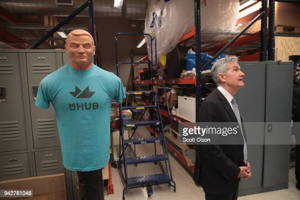 Federal Reserve Chairman Jerome Powell tours mHUB on April 6 2018 in Chicago Illinois mHUB is a facility that helps entrepreneurs develop and...