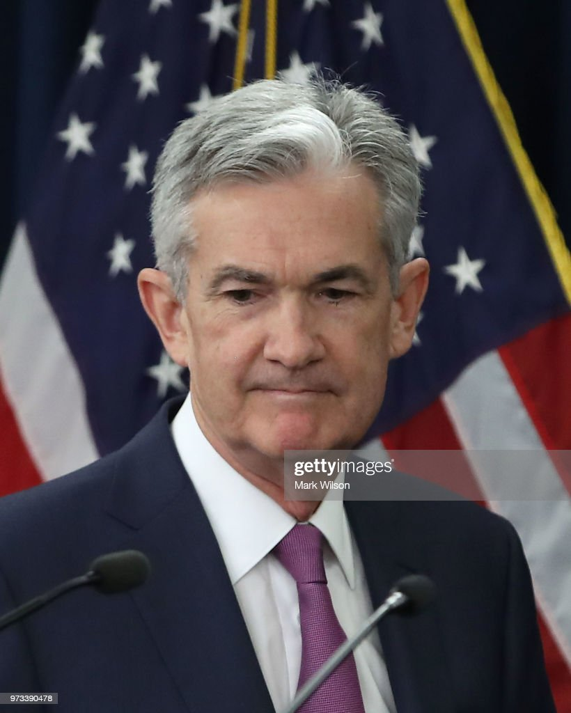 U.S. Federal Reserve Chairman Jerome Powell walks into a news conference June 13, 2018 in Washington, DC. After a two-day meeting the Chairman Powell announced that the Fed will increase interest rates by quarter of a percentage point.