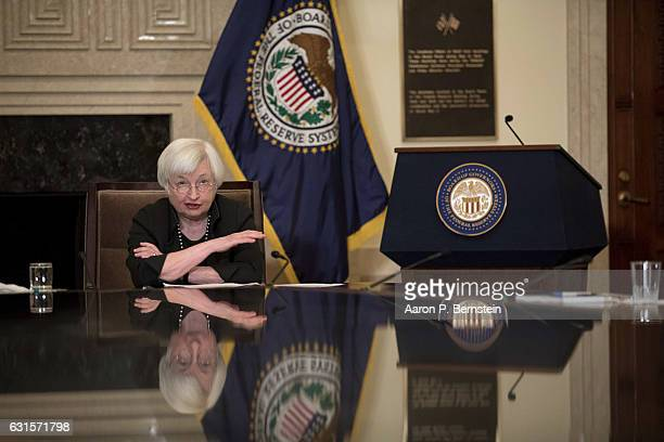 Federal Reserve Chairwoman Janet Yellen speaks to educators at the Federal Reserve Board Building January 12 2017 in Washington DC Yellen spoke about...