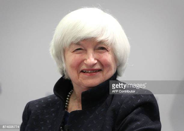 US Federal Reserve chief Janet Yellen smiles as she attends a conference titled 'Communications Challenges for Policy Effectiveness' organised by the...