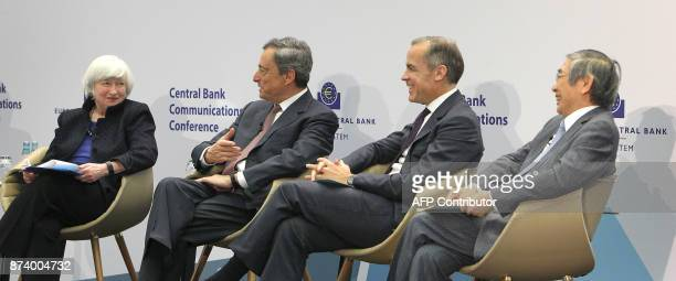 US Federal Reserve chief Janet Yellen the President of the European Central Bank Mario Draghi Canadian Mark Carney the governor of the Bank of...