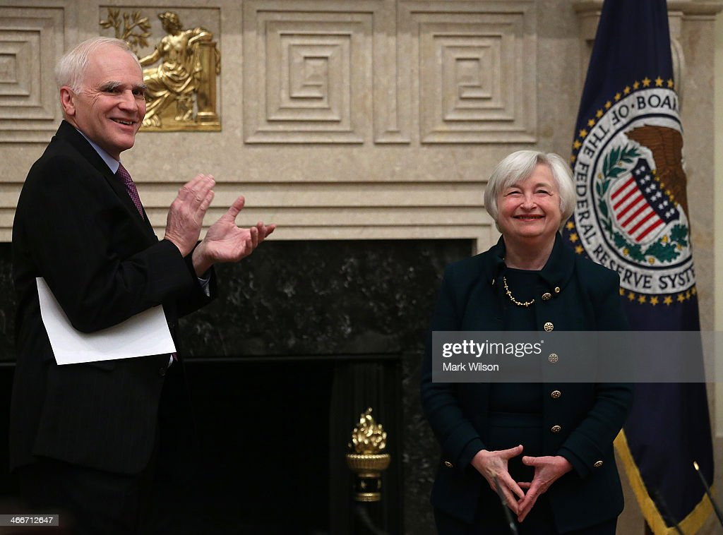 Federal Reserve Vice Chairman Janet Yellen (R) looks on after being sworn in as Federal Reserve Chairman by Federal Reserve Board Governor Daniel Tarullo at the Federal Reserve Building on February 3, 2013 in Washington, DC. Chairman Yellen is replacing Ben Bernanke as Federal Reserve Chairman.