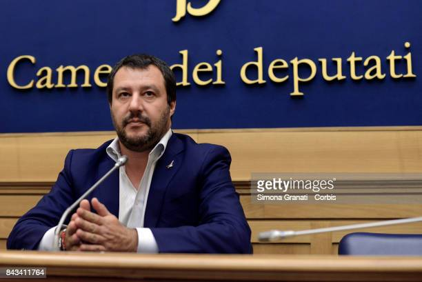 Federal Secretary of the Lega Nord Matteo Salvini holds a press conference in the Chamber of Deputies on September 6 2017 in Rome Italy