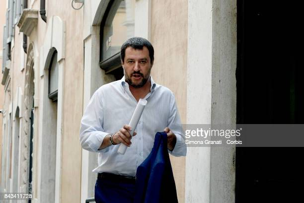 Federal Secretary of the Lega Nord Matteo Salvini in the street goes to the Chamber of Deputies to hold a press conference on September 6 2017 in...