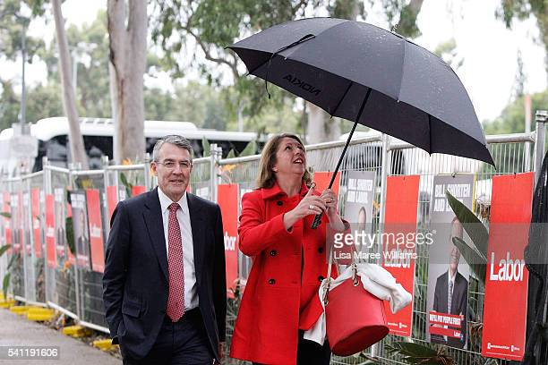 Federal Shadow Attorney General Mark Dreyfus and Shadow Health Minster Catherine King arrive at the Australian Labor Party 2016 Federal Campaign...