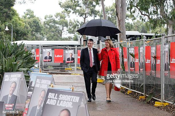 Federal Shadow Attorney General Mark Dreyfus and Shadow Health Minster Catherine King arrives at the Australian Labor Party 2016 Federal Campaign...