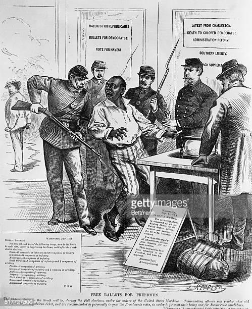 Federal soldiers intimidate Black voters Woodcut 1876