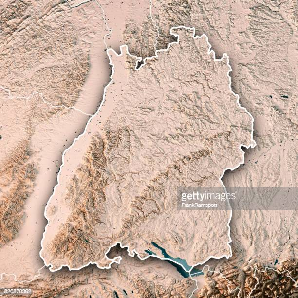 federal state of baden-württemberg germany 3d render topographic map neutral border - frank ramspott stock pictures, royalty-free photos & images