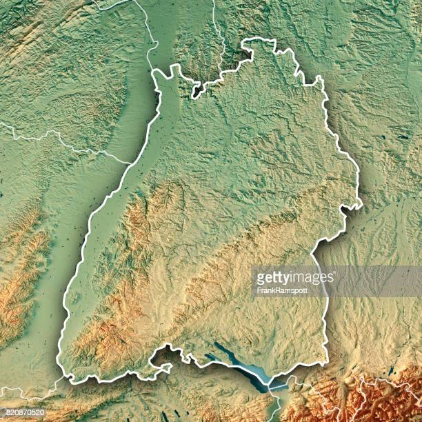 Federal State of Baden-Württemberg Germany 3D Render Topographic Map Border