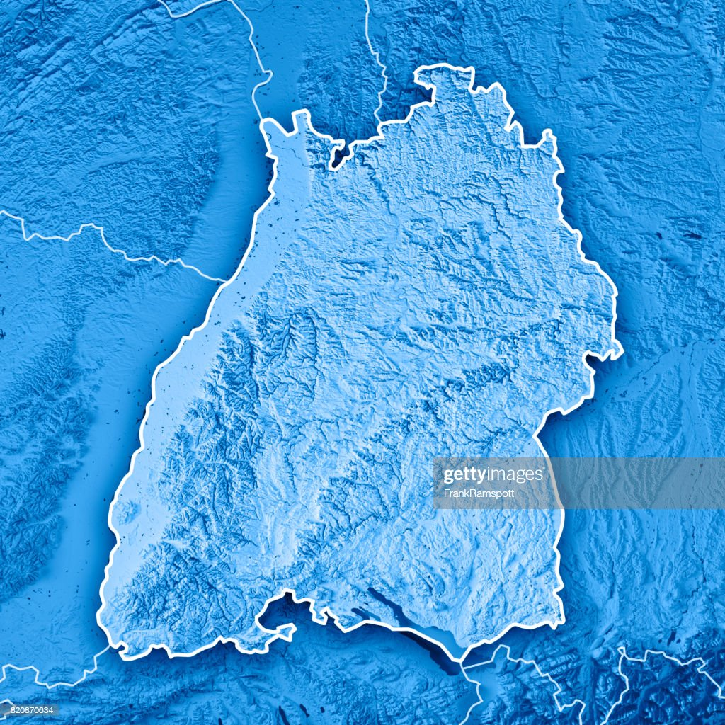 federal state of baden wrttemberg germany 3d render topographic map blue border stock photo