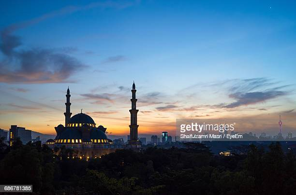 Federal Territory Mosque Against Cloudy Sky At Dusk